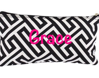 Personalized Black and White Pencil Case Cosmetic Pouch Small Organizer Gift Set Custom Monogramming Back to School