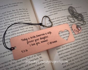 Metal Bookmark,Copper Bookmark,Personalized Bookmark,Wedding Gift,Mother of the Bride,Gift for Her,Women,Reading,Book Accessories,Mother