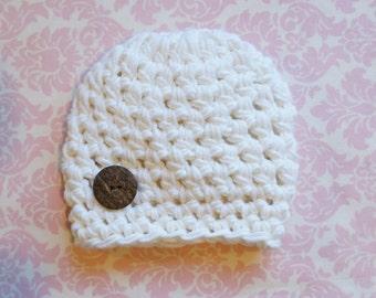 Cream Newborn boy beanie/ Infant boys hat/ Newborn boys hat/ Boys beanie