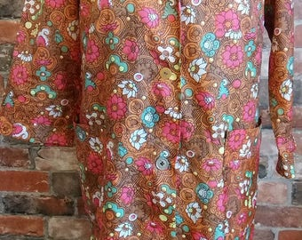 1960s Flower Power Vintage Top Size 14