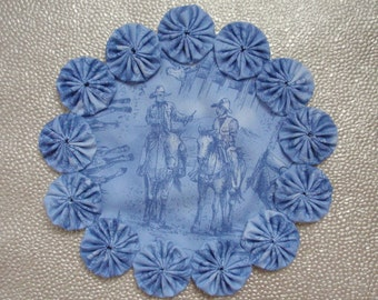 Cowboys on the Trail Toile Doily Candle Mat