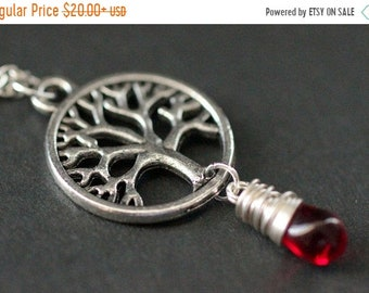 MOTHERS DAY SALE Tree of Life Necklace in Silver. Silver Tree Necklace. Wire Wrapped Red Teardrop Necklace. Handmade Jewellery.