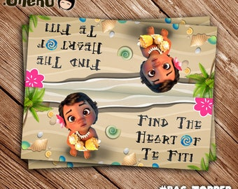 INSTANT DOWNLOAD Printable Baby Moana Bag Topper - Moana Treat Bag Topper - Baby Moana Theme - Birthday Party Supply - Party Favor