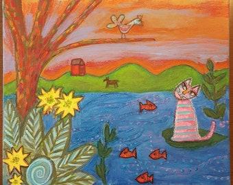 Pink Cat at the Lake Original Painting on Wood