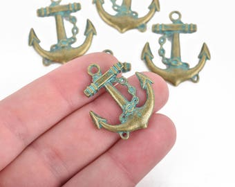 5 Bronze ANCHOR Charms, Nautical Anchor Pendants, Green Verdigris Patina, double sided, 31x27mm, chs3089