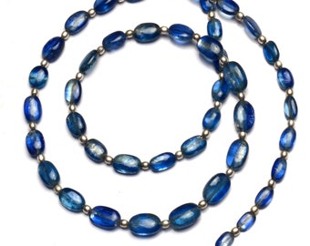Natural Gemstone Smooth Blue Kyanite 8x6 to 10x7MM Oval Nugget Beads 20.5 Inch Full Strand Fine Quality Beads from Nepal Complete Necklace