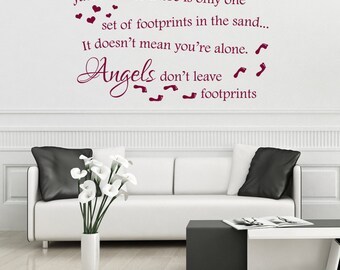 Angels dont leave footprints in the sand, wall decal vinyl sticker, christian wall art, wall decor, christian wall art, rememberance gift