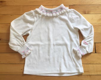Vintage 1990s Toddler Girls White Floral Oshkosh Turtleneck Top Shirt! Size 3T
