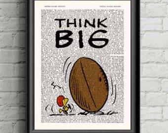 Woodstock Think Big Football Cartoon Art Peanuts Dictionary Print Antique Book Page