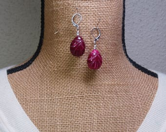 Genuine Real 81.44 Carats Hand Etched Red Ruby, 925 Silver Gemstone Earrings