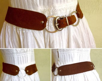 1970s fawn suede leather metal belt
