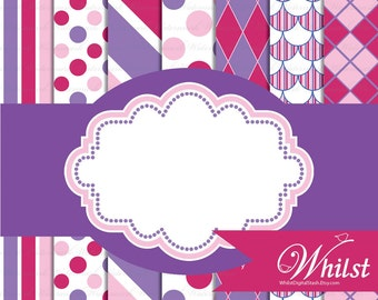 Pink Purple digital paper frame clip art, Printable Girl Birthday Party paper pack : p0220 3s353738 IP