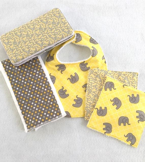 Baby gift set baby elephant baby gift set burp cloth bib negle Choice Image