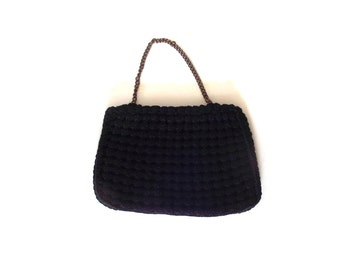 50s Purse Seligman of NY Crochet Puff Black Handbag