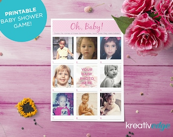 BABY SHOWER GAME - Guess the Celebrity Baby! Fun and Unique! Print Yourself. Personalised Baby Shower Game! Celebrity Faces Baby Shower Game