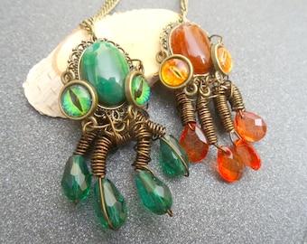 steampunk octopus pendants