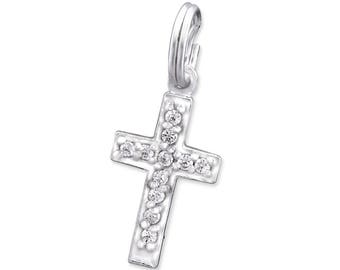 CZ Cross Charm with Split Ring Clasp 925 Sterling Silver - SR-NZC15S