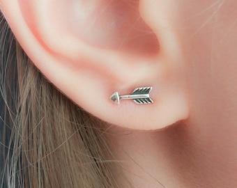 Tiny arrows Sterling Silver Stud Earrings - Silver Arrow Stud Earrings - Arrow Studs - Cupids Arrow Earrings - Love Arrow Earrings Studs