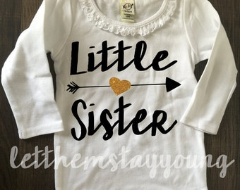 Big Sister Shirt Little Sister Shirt Pregnancy Announcement Shirt Sibling Shirts Sister Shirt Baby Announcement Shirt Gold Glitter shirt