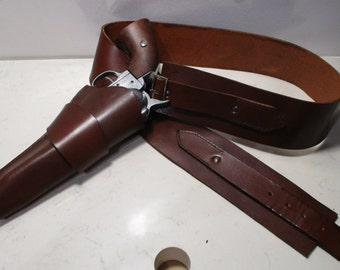 Cowboy leather belt holster