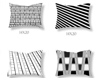 4 Pillows-Black & White Pillows-Modern Decor-Outdoor Pillow Covers-Square Pillows-Striped Pillows-Contemporary Decor-Geometric-Pillow Set