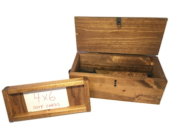 Wedding Wine & Letter Ceremony box - Wood Wine Capsule with removable 4x6 card tray - Rustic Wedding Accessories.