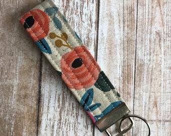 Rosa Linen Canvas Fabric Wristlet Key Fob, Wristlet Keychain, Key Fob, Gift Idea