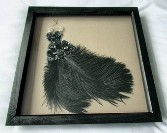 SALE - Ball Gown Button Art - Framed Wall Art - New Home Gift - Gift for Her - Birthday Gift - Feathers - Buttons - Gems - Anastasia