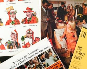 Vintage 1960s Christmas Holiday Ephemera Pack • Pin Up, Playboy, Sean Connery, Festive, Party, Holiday • Jim Beam, Whisky, Scotch, Mod