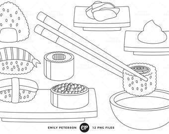 50% OFF SALE! Sushi Digital Stamps, Japanese Line Art, Chopsticks Clip Art - Commercial Use, Instant Download