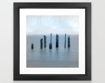 Tokeland Pacific Northwest landscape photograph, Washington state art print, Willapa Bay pier, nature square wall art, paper giclee