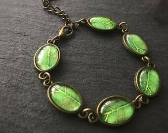 Green Leaf Nature Lover  Botanical Bracelet Autumn Bracelet Antique Bronze Adjustable