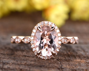 7x9mm VS fancy pink Morganite engagement ring,solid 14k rose gold diamond wedding band,promise ring,deco halo ring,Marquise diamond band