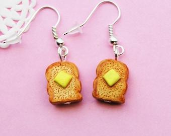 Toast Dangle Earrings - Breakfast butter toast bread