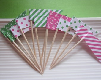Nautical / pink and green / patterned / anchor / food picks / cupcake topper / flags / set of 24