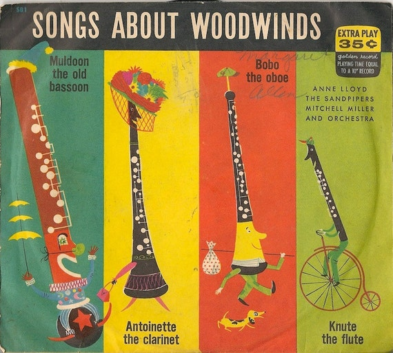 Songs About Woodwinds + Anne Lloyd, The Sandpipers, Mitchell Miller and Orchestra + 1953 + 45 RPM record