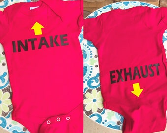 Intake exhaust onesie back and front view baby shower gift car lover