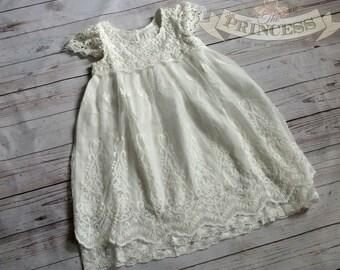 off white  flower girl dress, baby dress, vintage flower girl dress, lace dress, white  flower girl dress, champagne flower girl dress