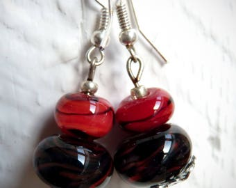 Red and black glass earrings