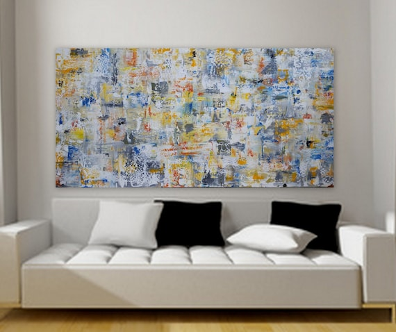 Huge custom order abstract painting gray yellow orange blue free shippping unstretched canvas 80 x 40 large decor wall art Marcy Chapman