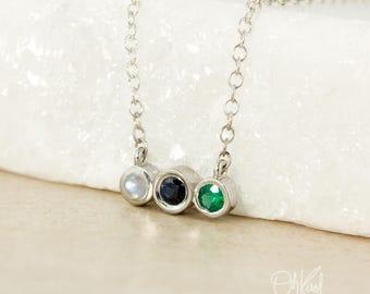 Birthstone Necklace - 3 Birthstones, Customized Birthstone Pendant - Sterling Silver
