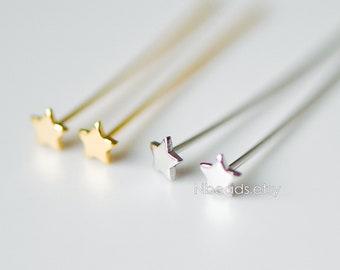 20pcs Gold/ Silver Star Head Pins 30mm by 0.7mm(21 Gauge), Gold/ Rhodium plated Brass Headpins, Tarnish Resistant (GB-308)