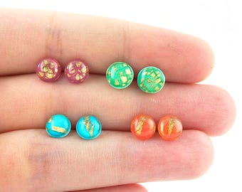 Colorful post earrings - dainty rainbow gold stud earrings - 7mm round circle earrings - titanium studs - hypoallergenic for sensitive ears