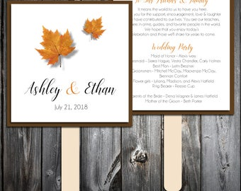 Fall Leaf Program Fans Kit - Printing Included. Wedding ceremony programs