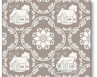 Daisy Cottage - Lori Holt Fabric From Riley Blake - Gray Houses - 2751 - One Yard - 8.75 Dollars