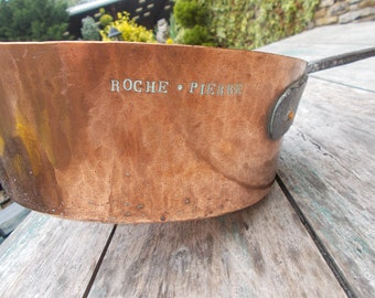 Antique French Large Copper Saute Pan / Pot Roche.Pierre