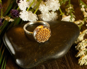 Golden Tobiko Silver Ring-button ring made to order