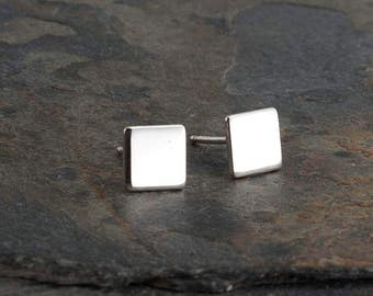 Shiny Silver Square Studs, Minimalist Earrings, Flat Square Earrings, Dainty Earrings, Stud Earrings, Silver Earrings, Handmade,  4-6-10mm