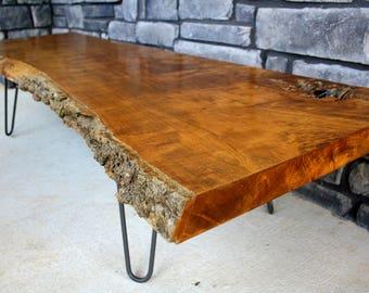 Live Edge Table, Live Edge Coffee Table, Custom Made Live Edge Furniture,  Wood