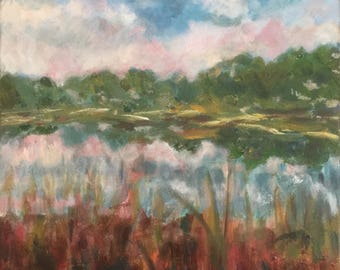 20 x 16 inch unframed original oil painting by Lake Dreams of Color